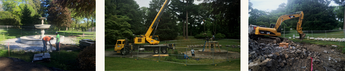 Dismantling Murdock Fountain at Newton Cemetery