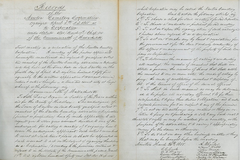 Document from when Newton Cemetery was formed