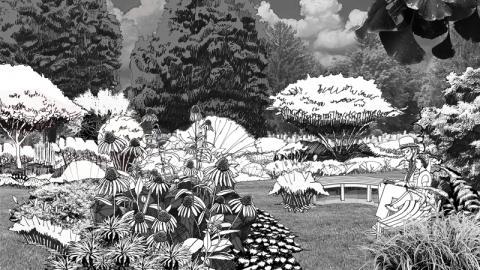Newton Cemetery Pollinator Garden Sketch by Horace Aikman, CRJA